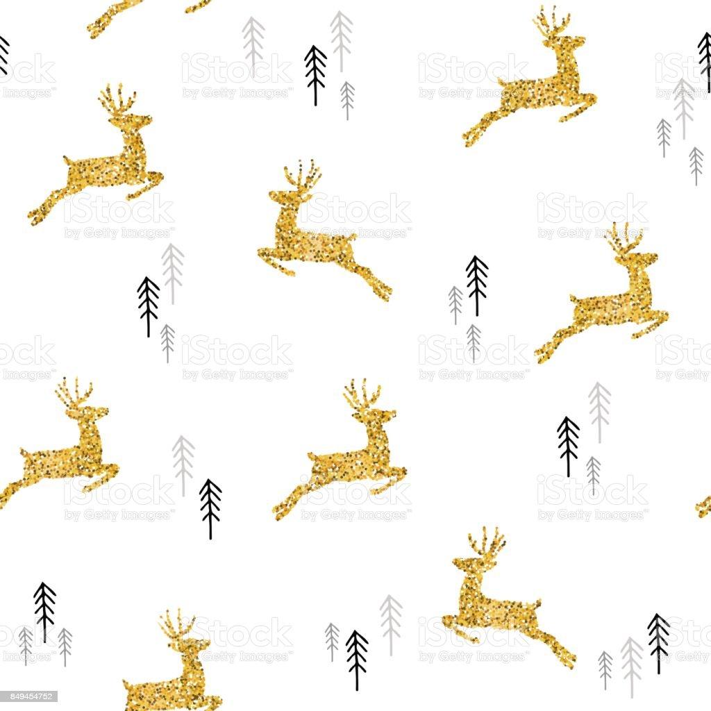 Ilustración de Navidad Oro Brillo Ciervos Navidad De Patrones Sin ...