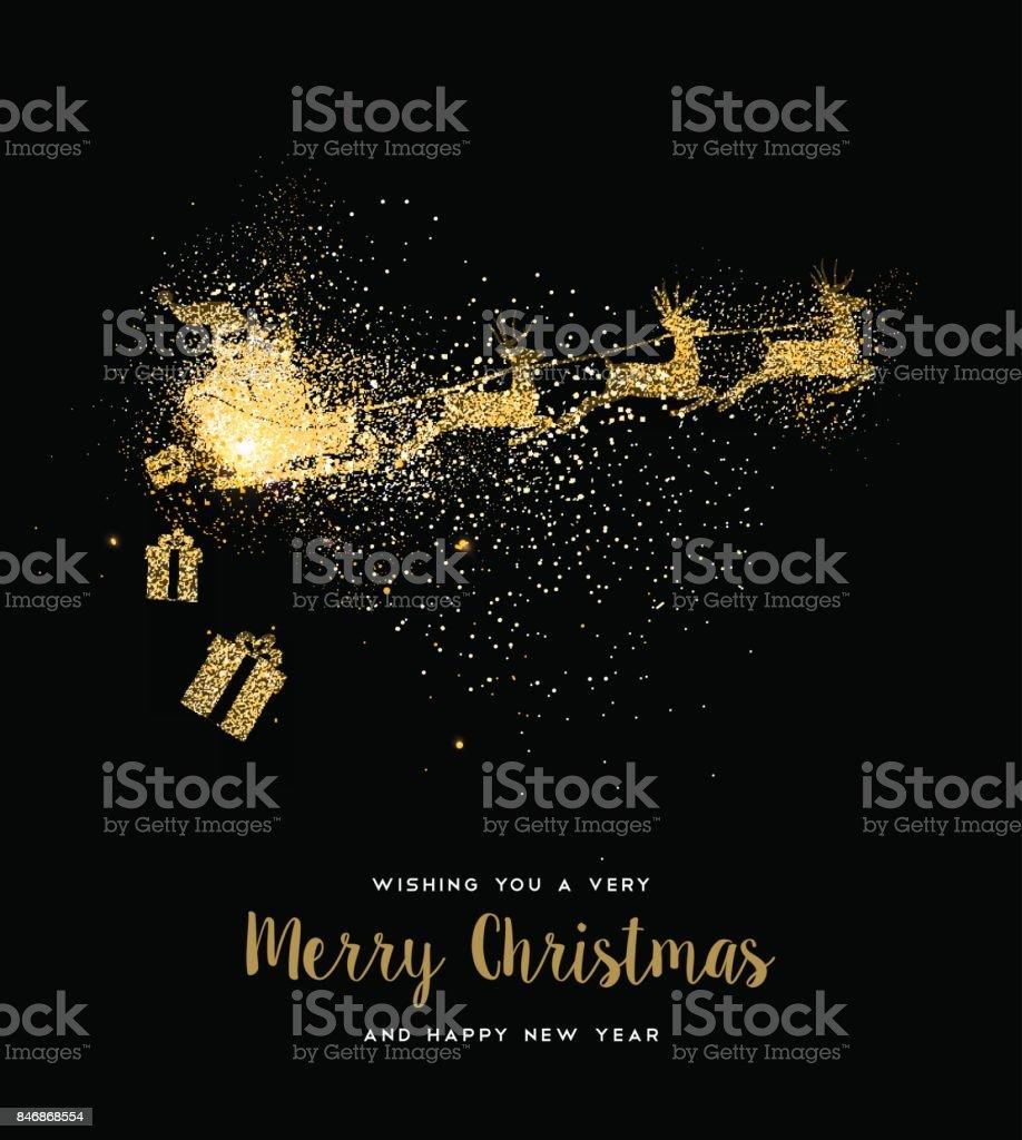 Weihnachten Goldglitter Weihnachtsmann Weihnachtskarte – Vektorgrafik