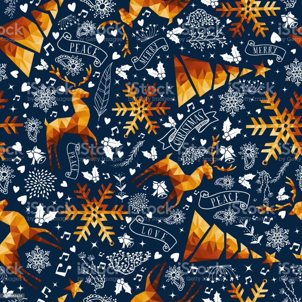 Christmas gold low poly luxury seamless pattern vector art illustration
