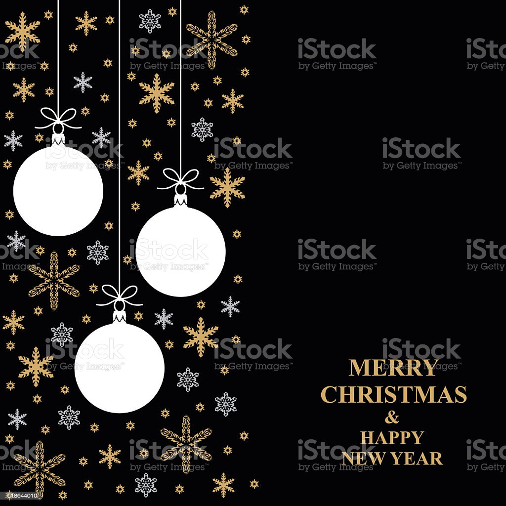 Christmas gold snowflakes and balls card vertical design vector art illustration