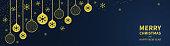 Christmas golden balls and confetti on a dark blue background. Congratulatory Christmas text. Horizontal Christmas banner, headers, sites. Flat modern design. Vector illustration