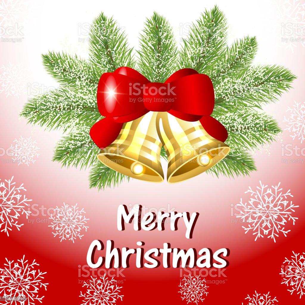 Christmas golden bells on a branch of a Christmas tree vector art illustration