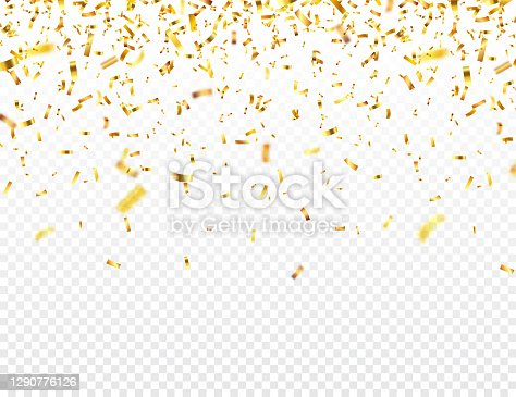 istock Christmas golden confetti. Falling shiny glitter in gold color. New year, birthday, valentines day design element. Holiday background 1290776126