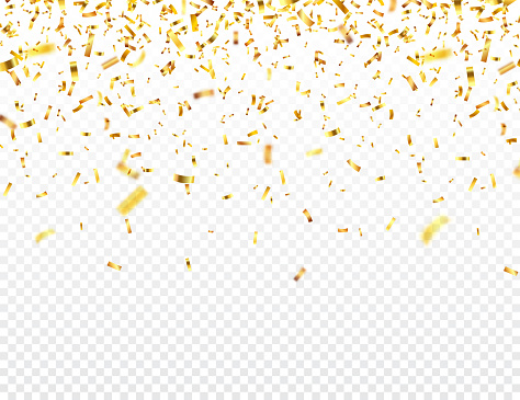 Christmas golden confetti. Falling shiny glitter in gold color. New year, birthday, valentines day design element. Holiday background