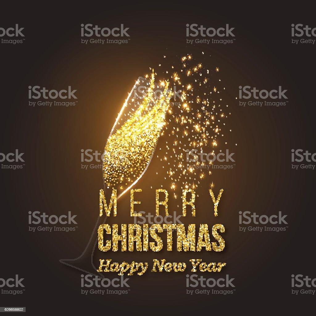 Christmas golden decoration with champagne splash vector art illustration