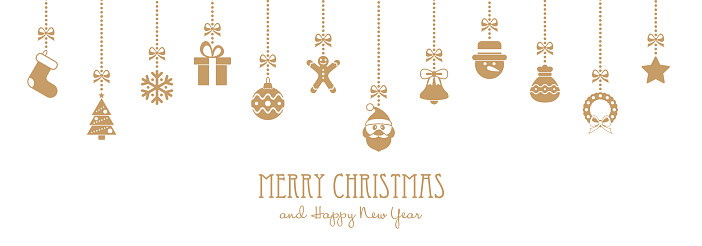 Christmas Golden Hanging Elements and Greeting Text - illustration