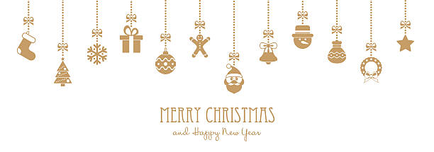 bildbanksillustrationer, clip art samt tecknat material och ikoner med christmas golden hanging elements and greeting text - illustration - christmas decorations