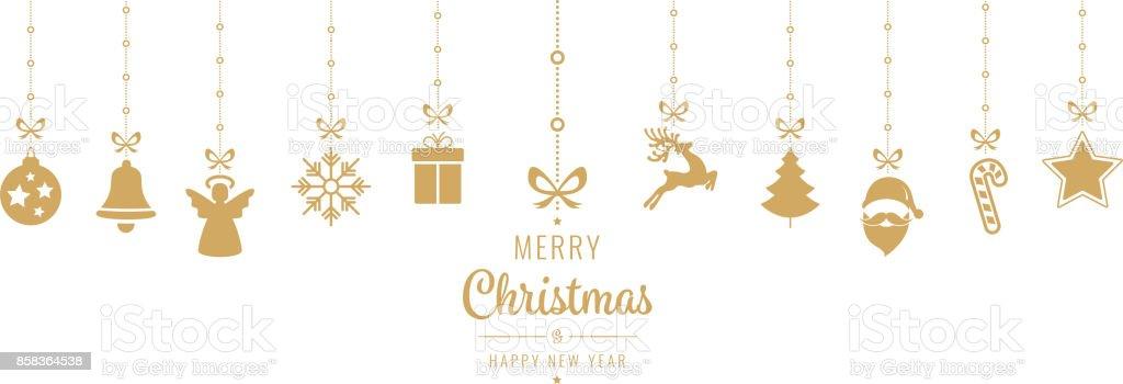 elementos de adorno de oro de Navidad colgante fondo aislado - ilustración de arte vectorial