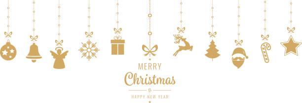 weihnachten-goldenen ornament-elemente isoliert hintergrund hängen - christmas decoration stock-grafiken, -clipart, -cartoons und -symbole