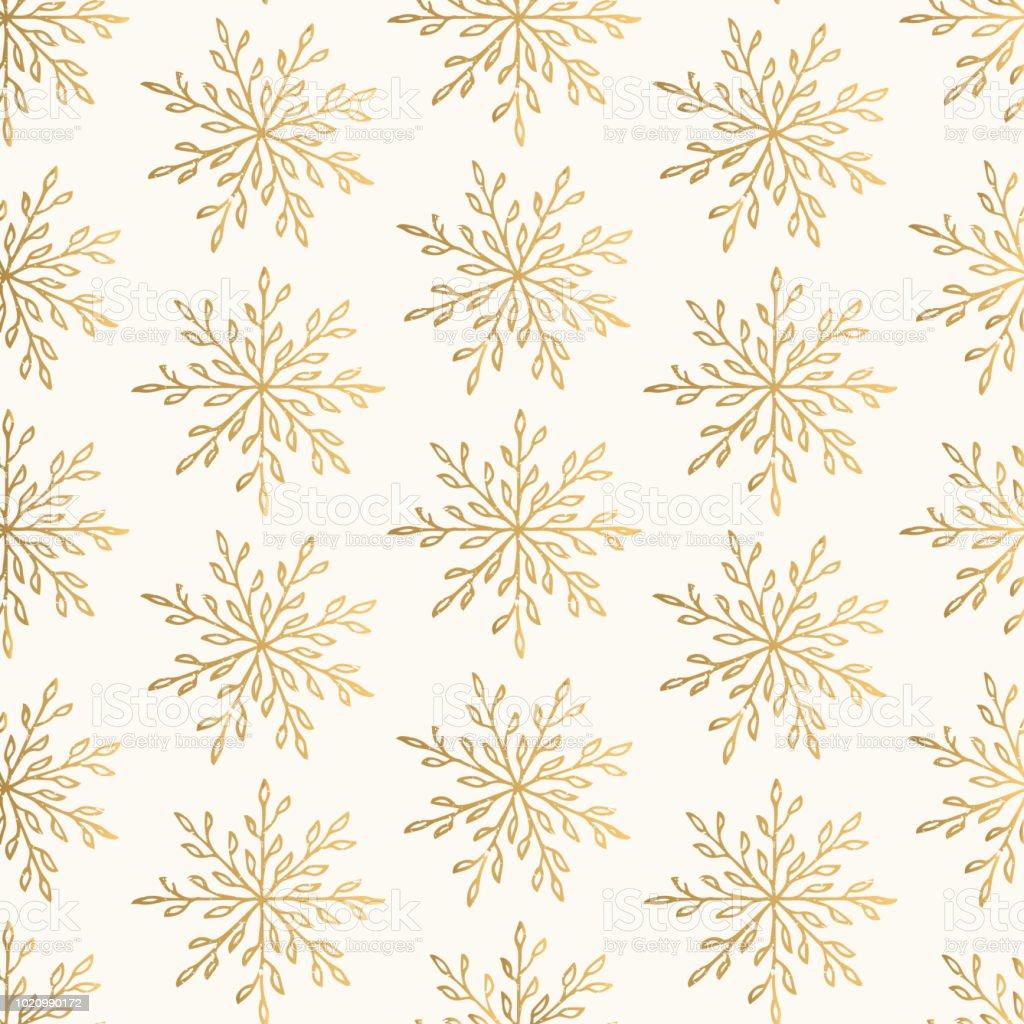 Ilustración de Patrón Oro De Navidad Con Copos De Nieve Elegante ...