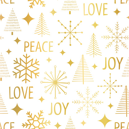 Christmas golden snowflakes seamless vector pattern. Modern graphic Christmas trees stars holiday background metallic gold foil on white. Peace Love Joy lettering for gift wrap Holiday party New Year