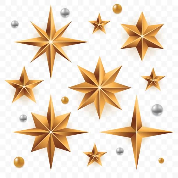stockillustraties, clipart, cartoons en iconen met kerst gouden sterren set geïsoleerd op transparante achtergrond. gouden sterren van verschillende vormen met zilveren parels. xmas decoratie-element voor uw ontwerp. vector eps 10. - kerstster