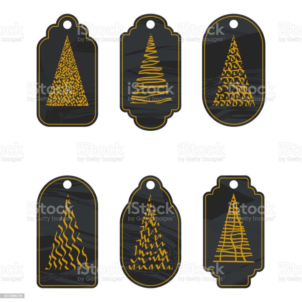 christmas golden tree on chalkboard vector art illustration