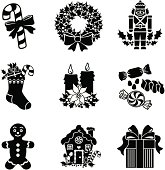 Vector icons with a Christmas treats theme.