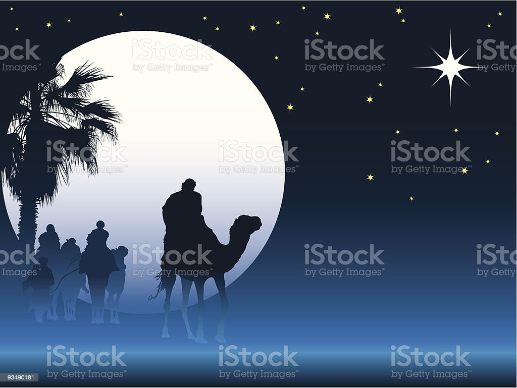 Christmas Graphic Of The 3 Wise Men Following The North Star Stock ...