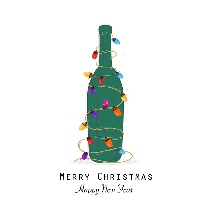 Christmas green champagne bottle with colorful light bulb vector greeting card