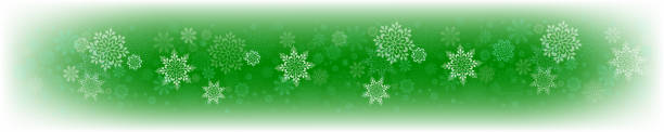 Christmas green composition with a set of white graceful snowflakes. vector art illustration