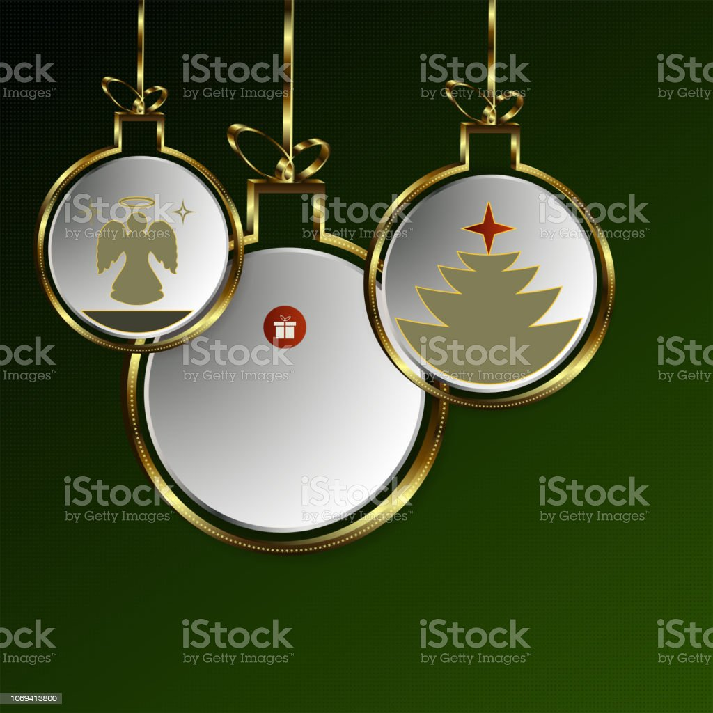 Christmas Green Design From Abstract Balls With Golden Border Stock  Illustration - Download Image Now