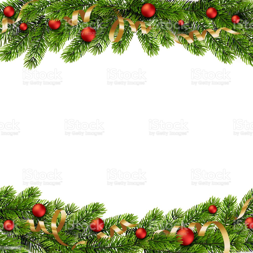 Christmas green Pine Branches and red baubles - Grafika wektorowa royalty-free (Banner internetowy)