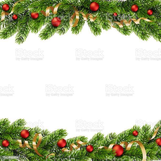 Christmas Grön Tall Grenar Och Röda Julgranskulor-vektorgrafik och fler bilder på Affär