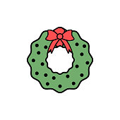Christmas green wreath vector line icon in flat modern design illustration for holiday and new year. Simple Trendy logo for merry christmas card
