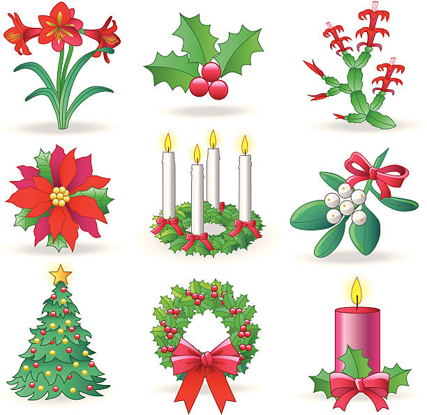 ilustraciones, imágenes clip art, dibujos animados e iconos de stock de vegetación de navidad - adviento