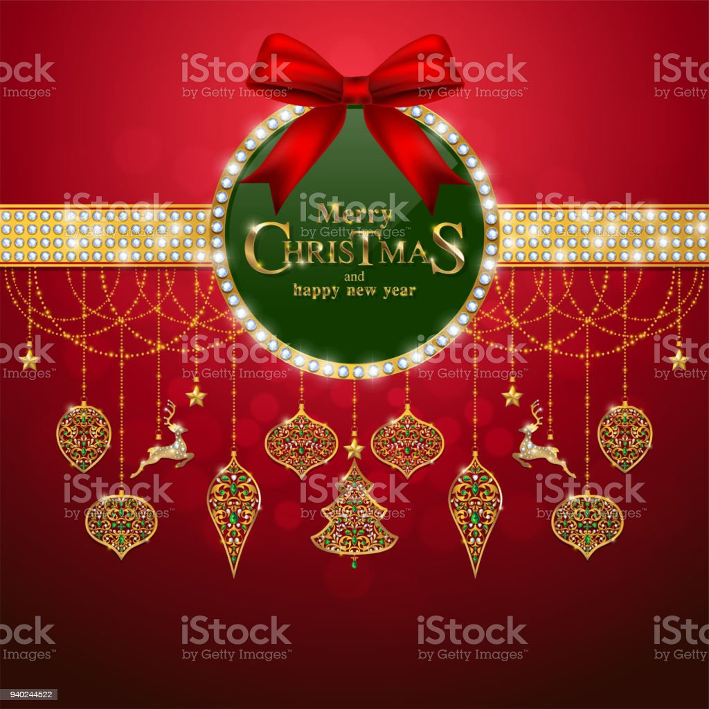 christmas greeting and new years card templates with gold patterned and crystals on background color