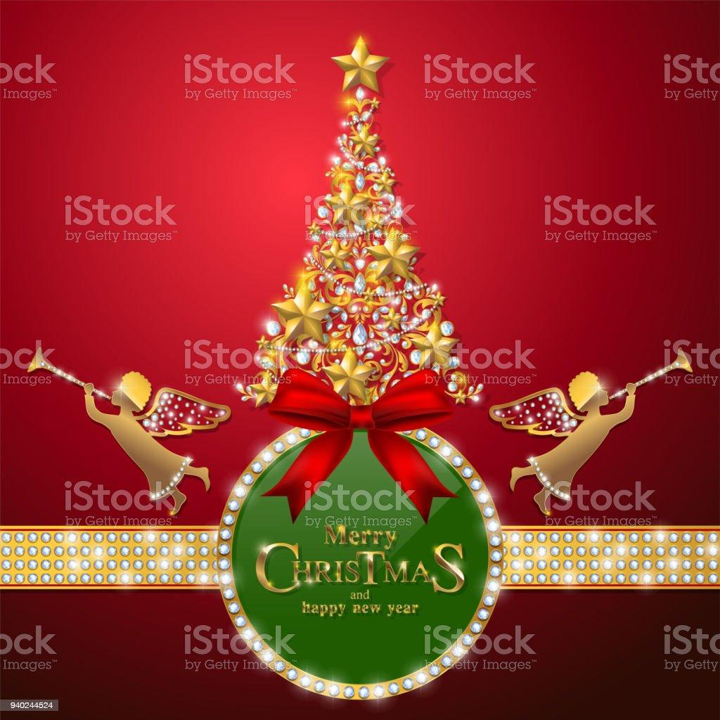 Ilustracion De Saludo De Navidad Y Ano Nuevo Tarjetas Plantillas Con - Motivos-navidad