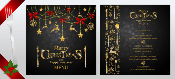 Christmas Greeting and New Years dinner menu card templates with gold patterned and crystals on background color. Christmas Greeting and New Years dinner menu card templates with gold patterned and crystals on background color. christmas dinner stock illustrations