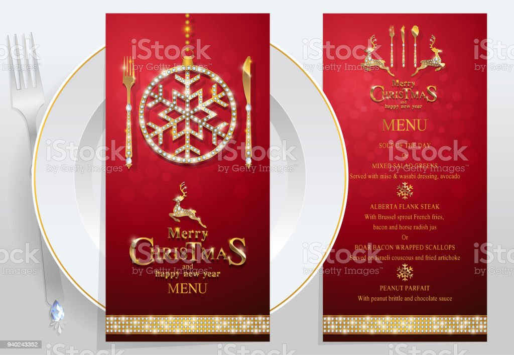 Christmas greeting and new years dinner menu card templates with christmas greeting and new years dinner menu card templates with gold patterned and crystals on background m4hsunfo