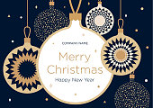 istock Christmas greeting banner or card. Golden Christmas balls on a dark blue background 877348974