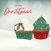 Christmas greeting card, background, poster with sweet cupcakes in the snow. Winter scene. Vector illustration. Holiday Collection.