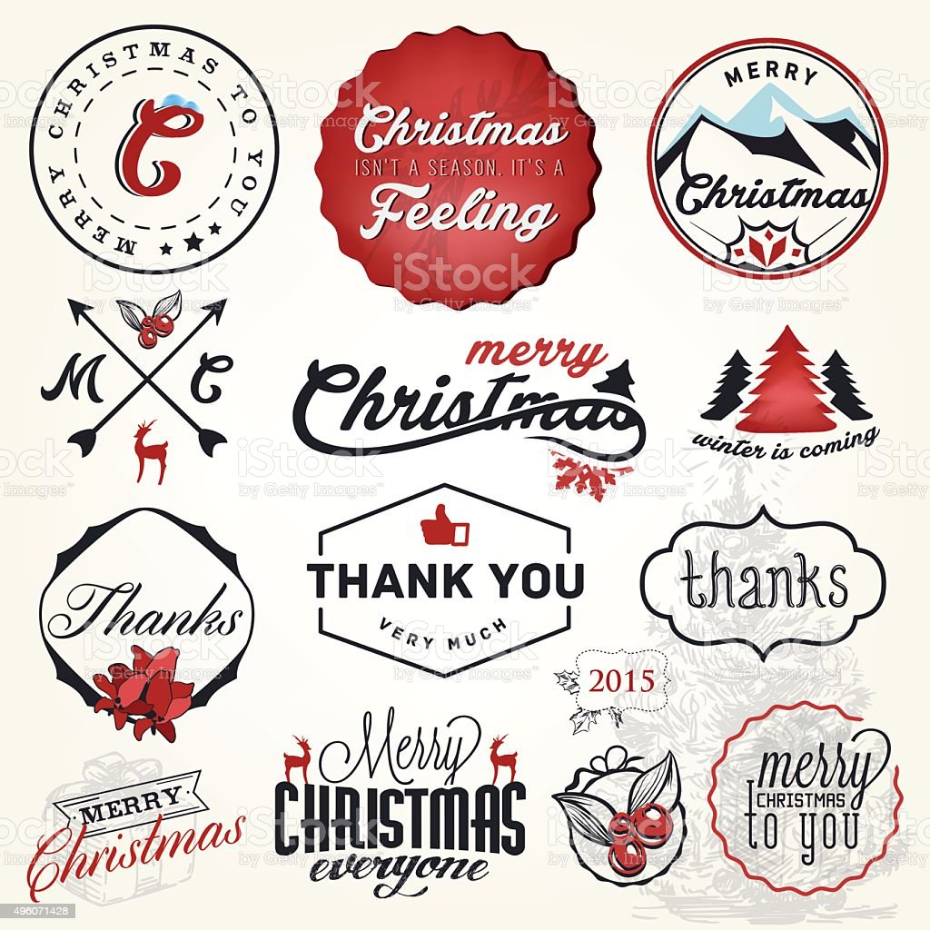 Christmas Greeting Card Badges And Labels Vector Illustration Stock ...
