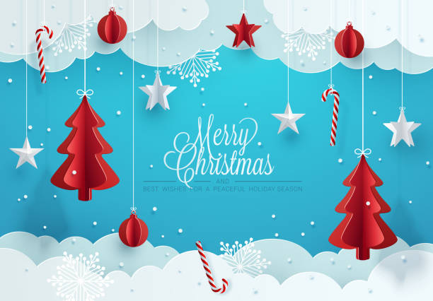 Christmas greeting card design. Paper decoration and clouds against blue background. Vector Illustration noel stock illustrations