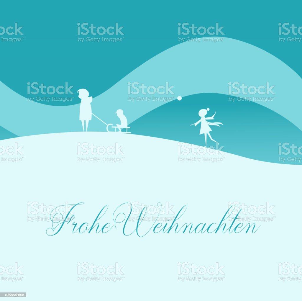 Famille Carte De Voeux De Noel Avec Traineau En Hiver Nature Texte