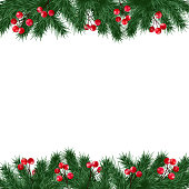 Christmas greeting card, invitation with fir tree branches and holly berries border on white background, isolated vector illustration