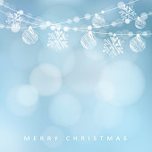 Christmas greeting card with garland of lights, christmas balls and snowflakes, vector illustration background