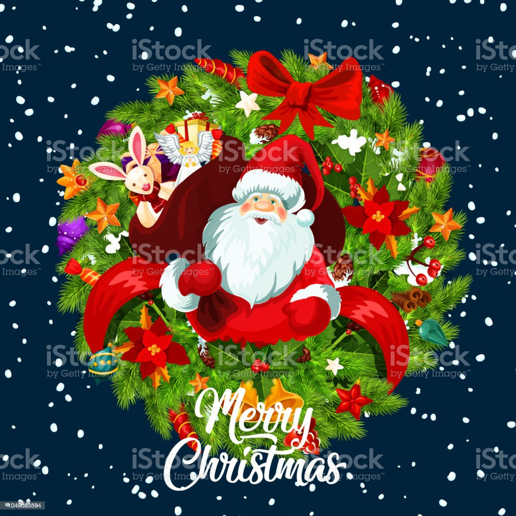 Christmas Greeting Card Gifts And Xmas Wreath Stock Vector Art ...
