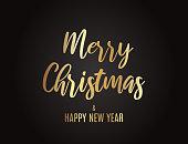 Christmas greeting card gold lettering on black background. Vector illustration. EPS10