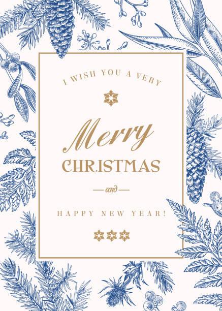 weihnachtsgrußkarte im vintage-stil. - laub winter stock-grafiken, -clipart, -cartoons und -symbole
