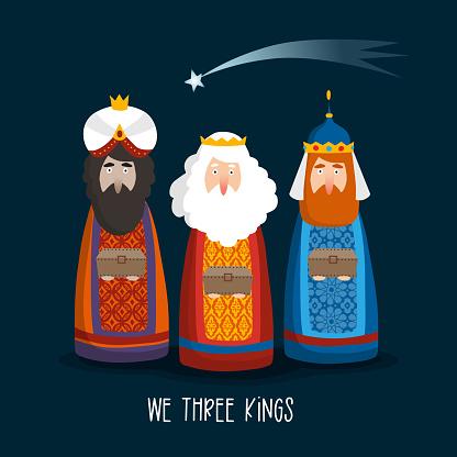 Christmas greeting card, invitation. Cute three magi bringing gifts. Biblical kings Caspar, Melchior, Balthazar and comet. Falling star at night. Cartoon vector illustration background, web banner.