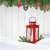 Christmas greeting card, invitation. Winter scene, red lantern with candle, Christmas tree branches, twigs, holiday paper hearts decoration and snow. Old white wooden background. Vector illustration.
