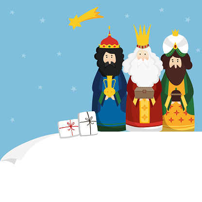 Christmas greeting card, invitation. Three magi bringing gifts and falling star. Biblical kings Caspar, Melchior, Balthazar and comet. Flat design, vector illustration background. Blank paper bannner.