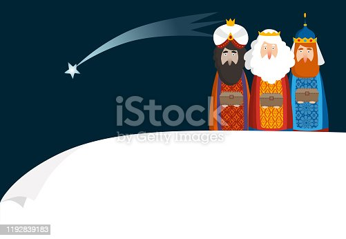 istock Christmas greeting card, invitation. Three magi bringing gifts. Biblical kings Caspar, Melchior, Balthazar and comet. Falling star. Vector illustration background. Blank paper bannner, copy space. 1192839183