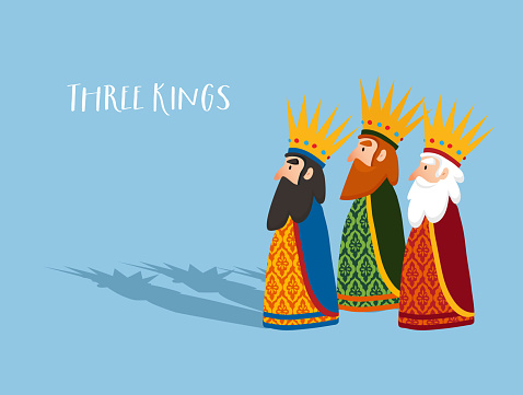 Christmas greeting card, invitation. Three old wise men, kings with crowns and shadows. Biblical magi Caspar, Melchior and Balthazar. Flat design, vector illustration background, web bannner.