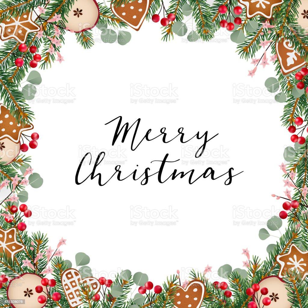 Christmas Greeting Card Invitation With Christmas Wreath Made Of Fir