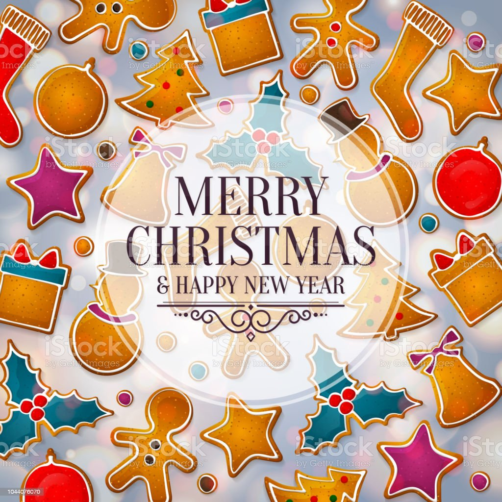 Christmas Greeting Card Made From Gingerbread Cookies Background