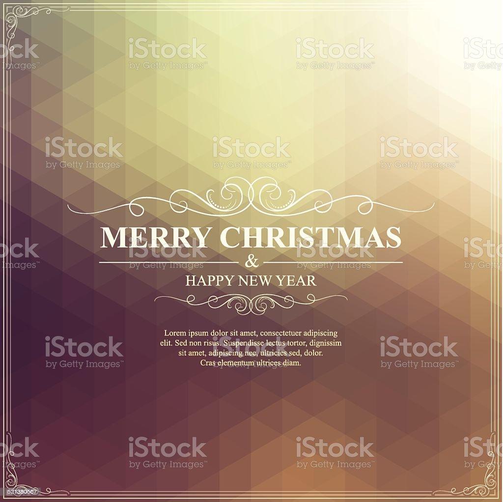 Christmas Greeting Card. Merry Christmas lettering on bright golden Background vector art illustration