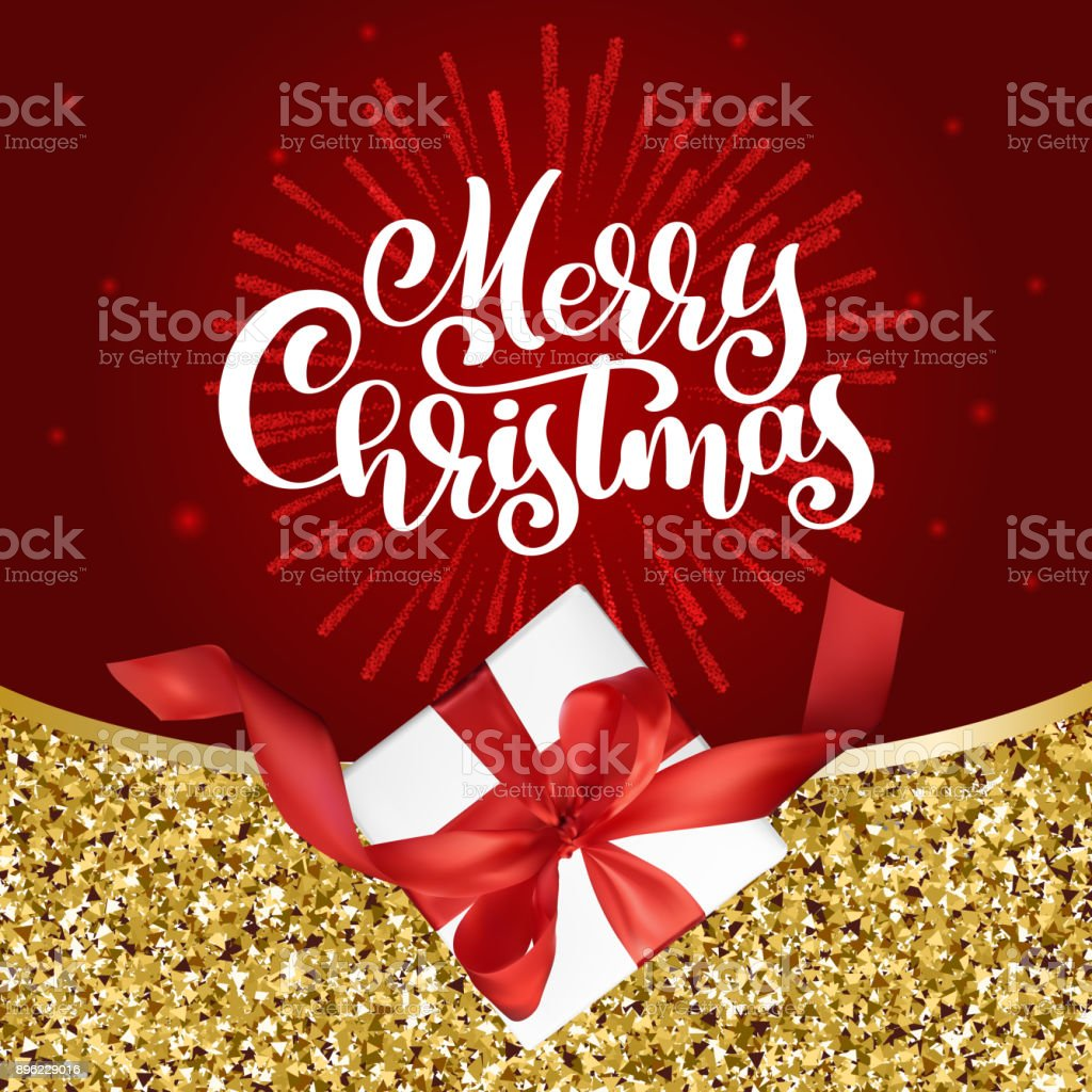 Christmas Greeting Card Merry Christmas Lettering Red Background ...