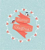 Christmas Greeting Card. Merry Christmas lettering. Vector illustration.